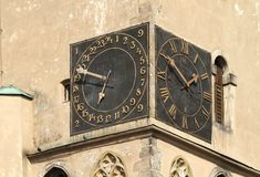 Old clock. Old tower clock in Havlickuv Brod in Czech republic stock photos