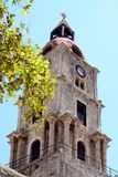 Old clock tower in Rhodes City Greece royalty free stock images