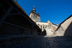Old Clock Tower in Sighisoara city Stock Photos