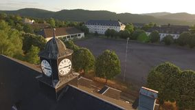 Old clock-tower in sundown stock video footage
