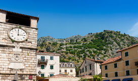 Old Clock Tower Trg Od Oruja Square Kotor Royalty Free Stock Photography