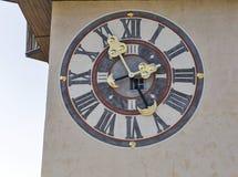 Old clock tower Uhrturm closeup in Graz, Austria Royalty Free Stock Photo