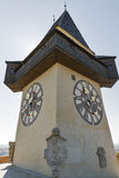 Old clock tower Uhrturm in Graz, Austria Royalty Free Stock Photo