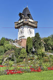 Old clock tower Uhrturm in Graz, Austria Royalty Free Stock Images
