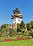 Old clock tower Uhrturm in Schlossberg. Graz, Austria Royalty Free Stock Image