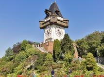 Old clock tower Uhrturm in Schlossberg. Graz, Austria Royalty Free Stock Images