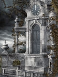 Old clock tower. With vines and cobwebs Stock Photo
