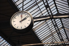 Old clock at a train station Stock Images
