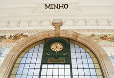 Old clock on train station in Porto Royalty Free Stock Photo