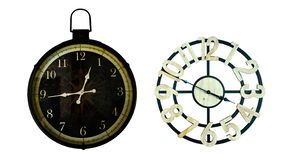 Old  clock Vintage style on white  background. royalty free stock photography