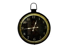 Old  clock Vintage style on white  background. stock images