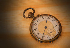 Old  clock  vintage  on wood background Stock Photography