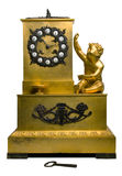 Old clocks. The old bronze table clocks stock photography