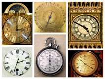 Old clocks. Bunch of different clocks isolated on white stock photo