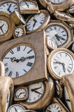 Old clocks. Many old fashioned and vintage clocks Time measurement concept royalty free stock images