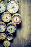 Old clocks in pile Royalty Free Stock Photography