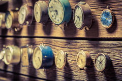 Old clocks on the wall. Closeup of old clocks on the wall stock photography