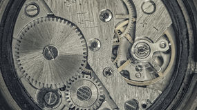 Old clockwork. Close-up photo of an old clock mechanism Royalty Free Stock Image