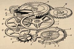Old Clockwork Diagram Royalty Free Stock Image