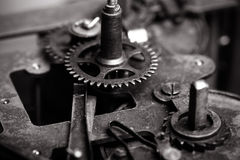Old clockwork dirty with dust and lubricating oil. Selective foc Royalty Free Stock Images