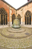 Old cloister bell. Big bronze bell of a former cloister church; St. Servaas church in the city Maastricht, State/Department of Limburg, Netherlands. The image Stock Photo