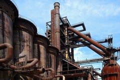 Old close blast furnace under sky Royalty Free Stock Image