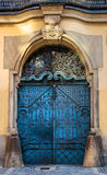 Old closed ancient blue door Royalty Free Stock Photography