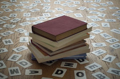 Old Closed Books. In a letter cards background Stock Photography
