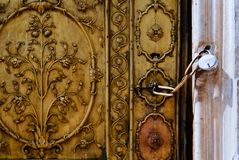 Old closed door stock image