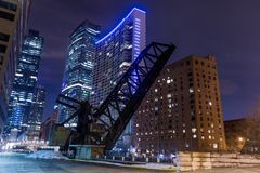 Old closed KInzie Bridge in Chicago downtown royalty free stock photography