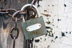 Closed lock on the chain Stock Photos