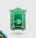 Old Closed safe vector illustration. Royalty Free Stock Images