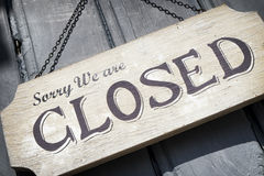 Old closed sign. Closed sign at a shop - nice background Royalty Free Stock Image
