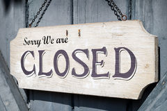 Old closed sign Stock Photo