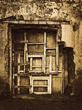 Old closed window. Shot in Russia Kostroma fall and summer 2015 Royalty Free Stock Photography