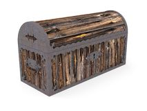 Old closed wooden chest Stock Photo