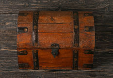 Old closed wooden chest Royalty Free Stock Image