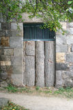 Old closed wooden door Tatev monastery (vanq), Armenia, Hayastan Stock Image