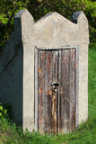 Old closed wooden door to underground stone cellar Stock Image