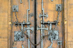 Old closed wooden gate royalty free stock image