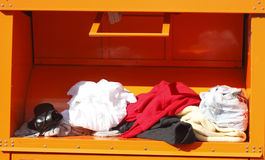 Old clothes collection, Container stock photo