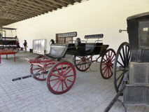 Old coaches in winery Vina Undurraga in Talagante. TALAGANTE, CHILE - JAN 24, 2015: old coaches in winery Vina Undurraga in Talagante, Chile. The foundation was royalty free stock images