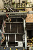 The old coal boiler grate without one wall Royalty Free Stock Photos