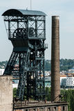 Old coal mine shaft with  mining tower Stock Image