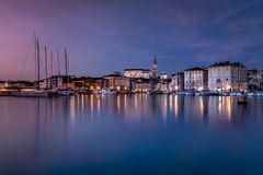 Old coast town Piran at sunset Stock Image