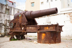 Old coastal cannon in Medina of Tangier, Morocco Royalty Free Stock Photos