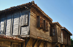 Old coastal houses. Black sea old wooden coastal town houses royalty free stock photography