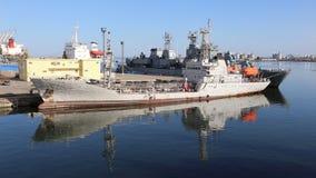 Old coastal patrol ship anchored to shore stock footage