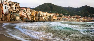 Old coastal town Cefalu in Sicily. Italy Stock Image