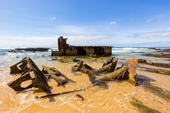Old coastline shipwreck royalty free stock images